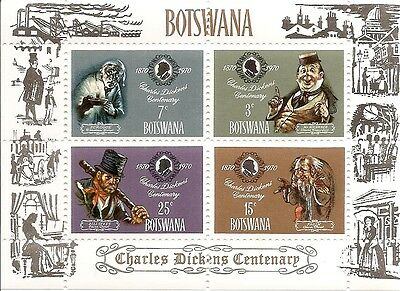 Botswana - 1970 Charles Dickens Death Centenary Miniature Sheet - Unmounted Mint