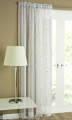Starlight Voile Net Curtain Panel Sheer White Silver Grey Metallic Moon Stars