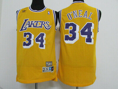 Los Angeles Lakers #34 Shaquille O'Neal Yellow Basketball Jersey Size: S - XXL