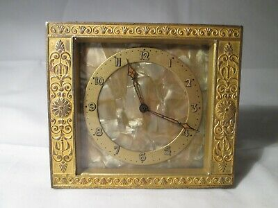 Small Vintage Brass Clock with Mother-of-Pearl Effect Face. Not Working