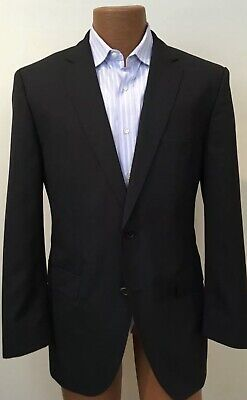 4d395b53 HUGO BOSS Men's 2 Pc Suit Black Pinstripe 100% Virgin Wool 42R W36xL31