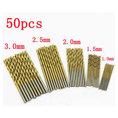 50x HSS Metric Drill Bit Set Titanium Coated Twist Drills Metal Wood 1-3mm
