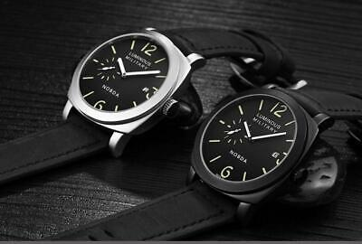 Luxury Men Wrist Watch Leather Quartz Sports Military Leather Band Sapphire Dial