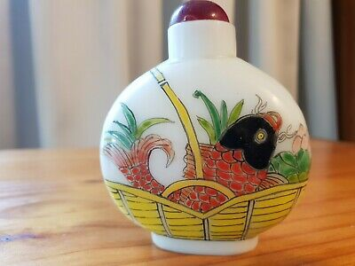 Hand painted cloisonne Chinese snuff bottle fish in basket