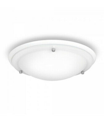 Flush Bathroom Ceiling Light IP44 Rated Glass and White Modern Sleek
