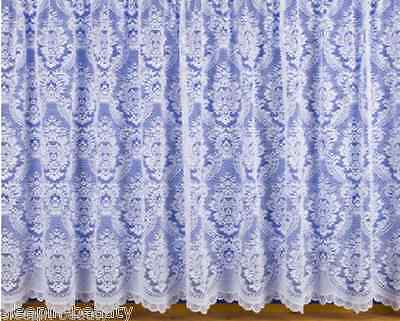 Traditional Floral Heavy Thick White Lace / Net Window Curtain, 3000 All Sizes