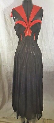 Ladies Sexy Sparkly Black Temptress Witch Costume Dress Red Collar Long Gloves