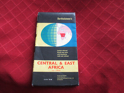 vintage bartholomews map of central and east africa.