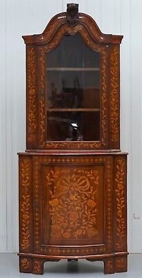Rare Dutch Circa 1780 Marquetry Inlaid Walnut Corner Cabinet Cupboard Bookcase
