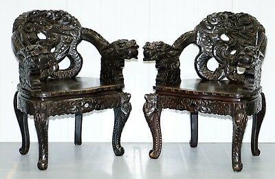 Pair Of Black Circa 1870 Qing Dynasty Carved Dragon & Lion Foo Dogs Armchairs