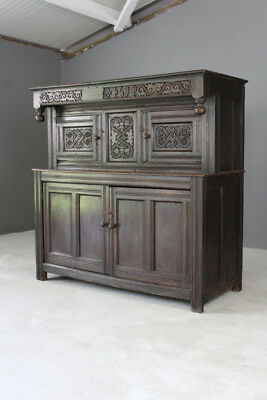Antique Carved Oak Court Cupboard Dresser Rustic Vernacular