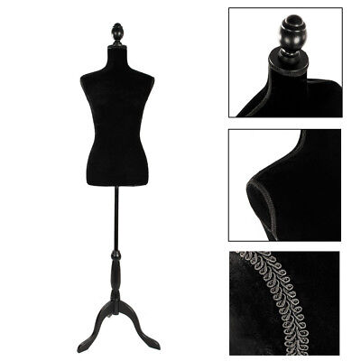 Female Mannequin Torso Clothing Clothes Dress Form Display & Black Tripod Stand