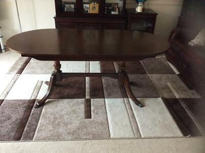 Large Twin Pillar Mahogany Extending Georgian Style Dining Table Claw Foot