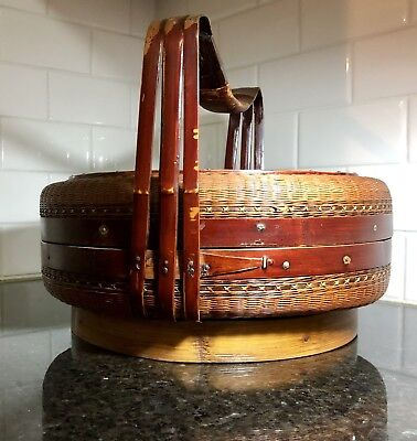 "Authentic ANTIQUE OLD woven CHINESE Wedding Basket W/ ""DOUBLE HAPPY"" Mark"