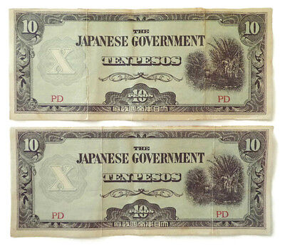 10 Pesos Japanese Government PD Military Occupation Lot of 2 Bank Notes