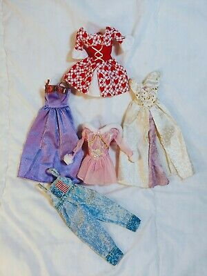 Barbie Clothes Lot fairytale gowns Bavarian iceskating dresses USA overalls VGUC
