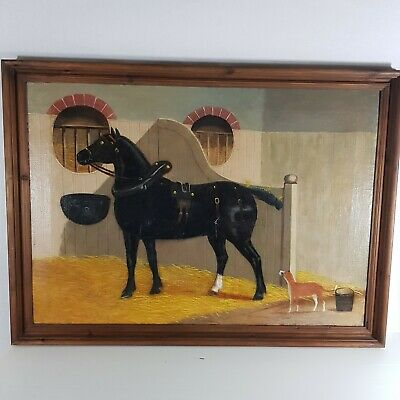 Antique 19th Century Oil Canvas Painting Horse Dog Stable English Primitive
