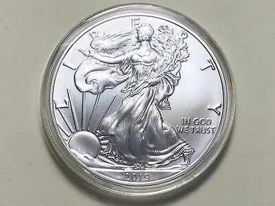 2019 AMERICAN SILVER EAGLE 1 Troy Oz. BU $1 Coin in Plastic Coin Holder