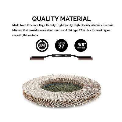 """10Pcs 4""""Stearate Coated Flap Disc Type 27 for Grinding Aluminum Copper Grit 80"""