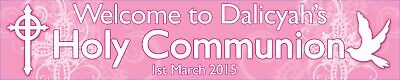 2 x Personalised First Holy Communion Banners - Pink or Blue