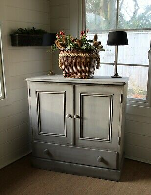 """Super Quirky Farmhouse """"rustic Painted"""" Pine Cupboard/cabinet/french Grey"""