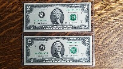 $2.00  2003A, consecutive serial numbers.. BOSTON BANK A   uncirculated??