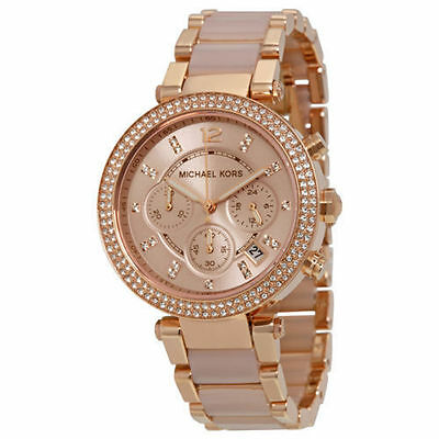 Authentic New Michael Kors Parker Rose Gold Blush MK5896 Watch for Women Crystal