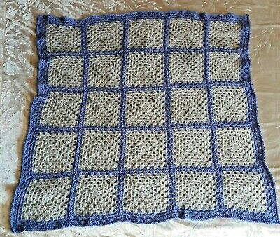 Handmade Crochet Granny Square Baby Blanket Soft Purple And Gray 41