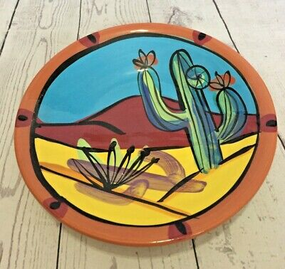 Southwest Cactus Bowl Mountains Hand Painted Art Whimsical Signed Artist Salsa