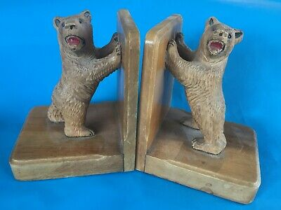 Black forest vintage  carved Bears book ends