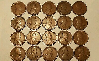 ALMOST COMPLETE 1909-1919 P-D-S (20) Pc. LINCOLN WHEAT CENT LOT SET