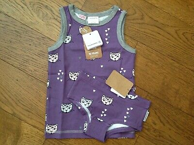 Maxomorra Girls Vest and Brief set in Kitty Cat print - size 86/92 (18-24 mths)