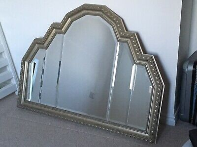 Large Art Deco Style Over Mantle Wall Hanging Mirror Pale Gold Silver