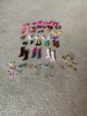 Lot of Barbie Shoes and Jewelery