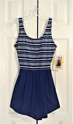 HONORS Vtg 70s NWT Swimsuit One Piece Navy Blue White Stripes Sz 10