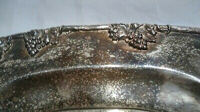 """Vintage Grape Motif Sheffield Silver Plated on Copper Oval Serving tray 24x15.5"""""""
