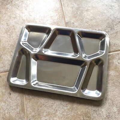 Vintage Retro Stainless Steel 6 Compartment WWII Military Serving Tray Plate