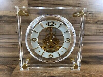Vintage Seiko Lucite Clock Skeleton Movement Gold Brass Mantle QAW105G Working