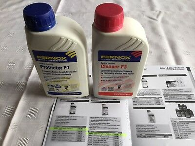 Fernox Central Heating F3 cleaner & F1 Protector Both 500ml.