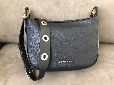 6e74a1746638 NWT Michael Kors Barlow Medium Pebbled Leather Messenger Bag Black Gold
