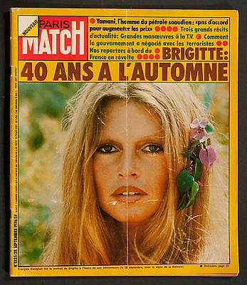 'paris-Match' French Vintage Magazine Brigitte Bardot Cover 28 September 1974