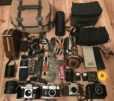 Large Job Lot Vintage 35mm Cameras Accessories Cases Bags Straps etc Photography
