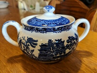 Old English Sugar Bowl W/ Lid Newport Pottery Blue Willow