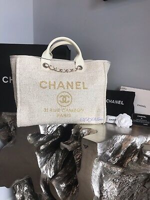 53add012bda5 Nwt Chanel Beige Deauville Tote Gold Tweed Boucle Gst Grand Shopping Ivory  White