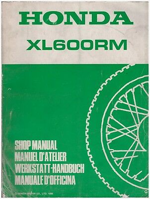 Manuale di Officina Shop Manual Manuel D'Atelier  Honda XL600RM dal 1986