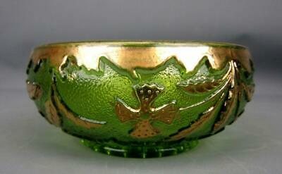 U. S. Glass DELAWARE Green EAPG Small Berry Bowl with Gilt Decoration 6290A