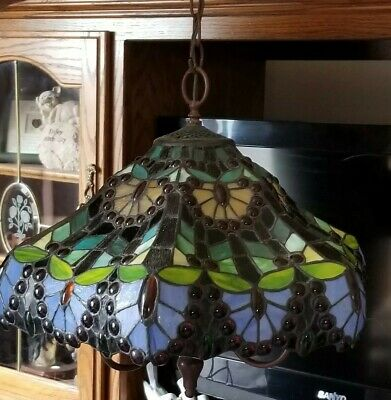 Stained Leaded Glass Tiffany Chandelier Canopy Whirlpool Poker Dining Light Bulb