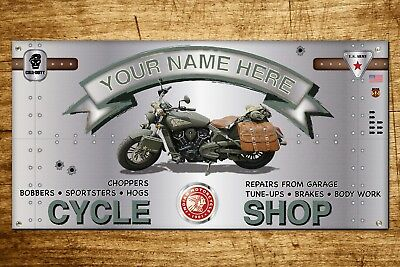 Custom Personalized Indian Motorcycle Shop  Banner Call of Duty Editio 2ft x 4ft