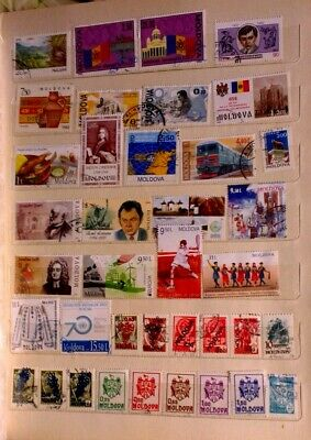 Moldova 65 different used stamps & 2 sheets