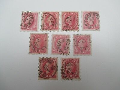 9 stamps from Sweden (Sverige). All 10 ore value & franked. Earliest date 1885